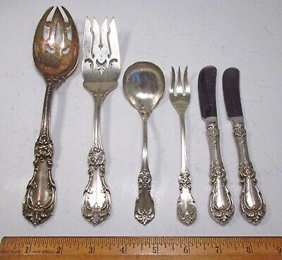 Vintage 1949 6pc Reed & Barton Burgundy Pattern Sterling Silver Serving Pieces