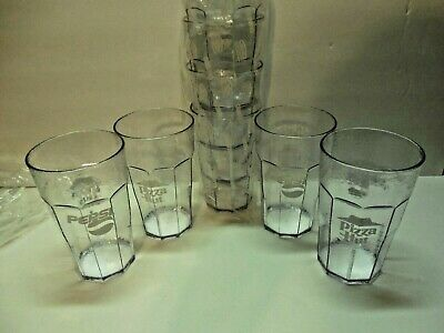 Pizza Hut 20 oz Plastic Glass With Pepsi Logo Set of 8. Unused. Cambro