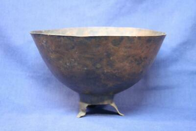 "Antique Hammered Copper Footed Bowl 8-1/4"" Diameter and 5-3/8"" Tall"