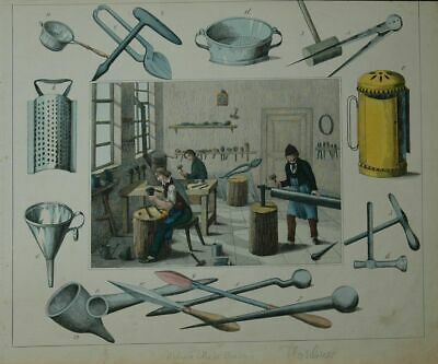 Profession: Flaschner with Werkstatt. Old Coloured Lithographie.