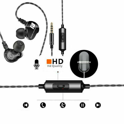 3.5mm Wired Super Bass Stereo Earphone Headphone Earbuds Double Moving Coil NEW
