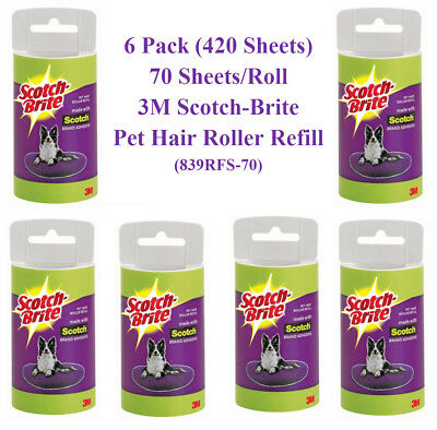 (420 Sheets) 3M Scotch-Brite Pet Hair Roller Refill, 70 sheets/Roll (839RFS-70)