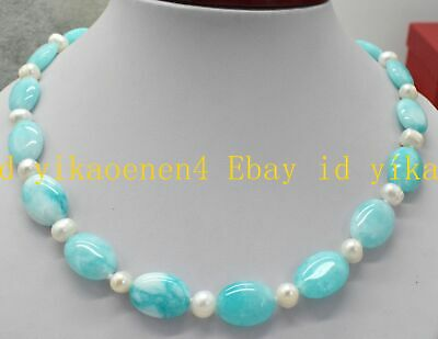 Natural 13x18mm Light Blue Aquamarine Oval 7-8MM White Pearl New Necklace 18''