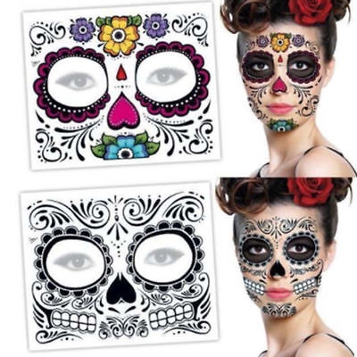 Halloween Day Of The Dead Face Sugar Skull Temporary Tattoo Costume Fancy Dress