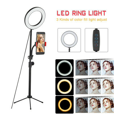 LED Dimmable Ring Light Studio Photo Video Lamp Tripod Stand Selfie Camera Phone