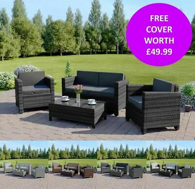 Rattan Garden Patio Sofa Table Set Furniture Conservatory 4 Piece FREE COVER