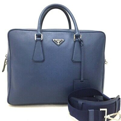 321dbc32630d Authentic PRADA Logo Plate Navy Navy Blue Leather Business Briefcase Bag  /ee953