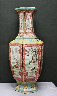 Enormous Tall Majestic Hexagonal Chinese Zodiac Porcelain Vase Stamp On Base