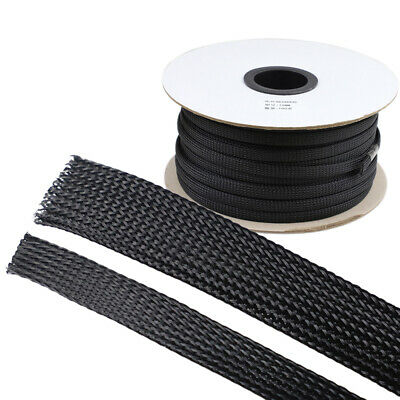 Black Expandable Braided PET Sleeve 3 Weave Cable Dense Sleeving Φ 1mm -18mm