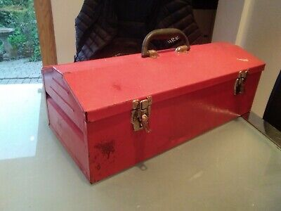 Vintage old Red metal Tool Box Storage retro needs new fasteners no tray rusty