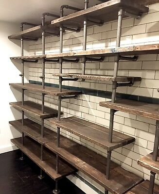Custom Built Retail Display Industrial Gas Pipe Up-cycled Scaffold Board Shelves