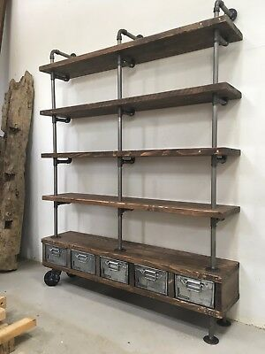 Large Pipe & Old Wood Scaffold Board Vintage Industrial Shelves Drawers Bookcase