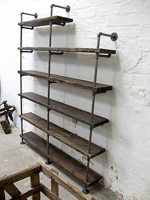Vintage Industrial Style Iron Gas Pipe & Reclaimed Scaffold Board Shelving 2.2m