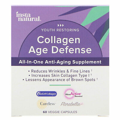 InstaNatural  Collagen Age Defense  All-In-One Anti-Aging Supplement  60 Veggie
