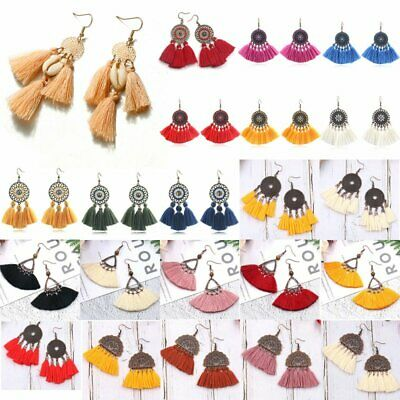 Women Bohemian Tassel Geometric Earrings Drop Dangle Fashion Jewelry Gift Party