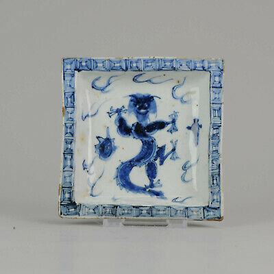 Antique Chinese Porcelain Late Ming or Transitional Plate Dragon