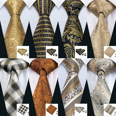 UK Mens Ties Necktie Gold Blue Yellow Brown Paisley Floral Silk Tie Set Wedding