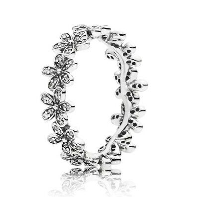 Dazzling Daisy Sterling Silver Meadow Stackable Ring with Clear CZ & Logo