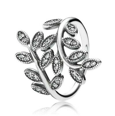 925 Sterling Silver Shimmering Leaves Clear CZ Ring size 6 7 8 9