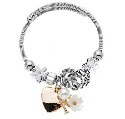 Snake Chain Charms Bracelet With Mesh Charms For Women Crystal Stainless Steel