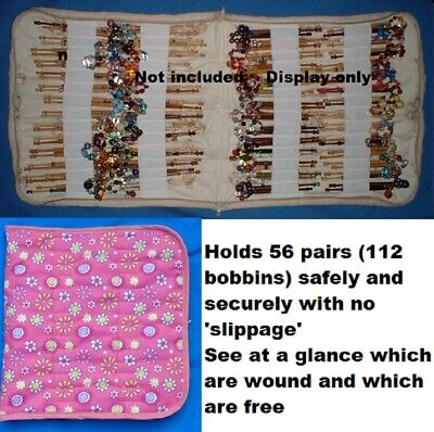 Padded Zip Bobbin Bag Holds 56 Prs Safely & Securely 'Pink Ditsey'  Pattern