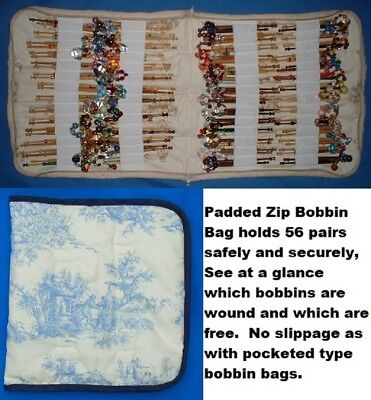 Padded Zip Bobbin Bag Holds 56 Pr Safely And Securely Toile De Jouy Pattern