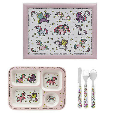 5pcs Kids Unicorn Design Breakfast Dinner Cutlery Set Serving Plate And Laptray