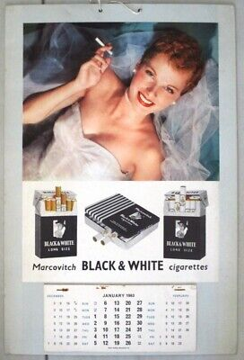 "Calendrier Publicitaire Cigarettes "" Black And White"" 1963"