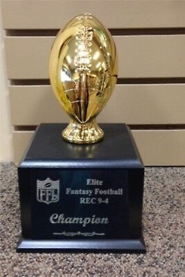 """Fantasy Football 5.75"""" Gold Football Perpetual Trophy 10"""" OVERALL"""