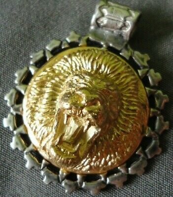 Antique Ancient Roman Military Legionary Gold Silver Pendant Marked Lion HEAVY