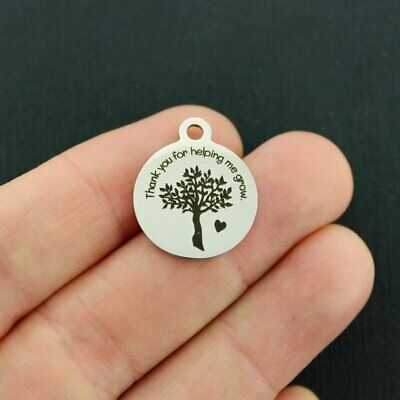 Teacher Stainless Steel Charms - Thank you for helping me grow - BFS4472