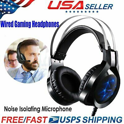 Stereo Bass Surround Gaming Headset Headphone for PS4 New Xbox One PC Mic