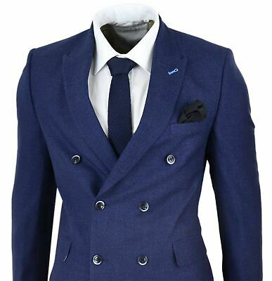 Mens Navy Double Breasted Suit Gatsby Gangster Mafia Peaky Blinders Vintage 1920