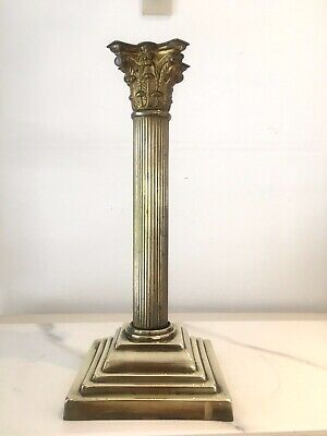 antique brass reeded corinthian oil lamp base