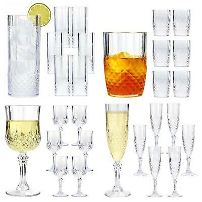 Crystal Effect Clear Plastic Champagne Flute Party Glasses Decorative