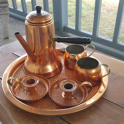 Vintage arts and crafts mission hammered copper coffee pot set + candle holders