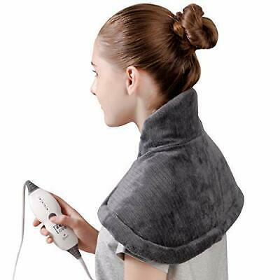 """Tech Love Electric Heating Pad Neck Shoulder/Back Pain Relief 14"""" x 22"""" Gray"""
