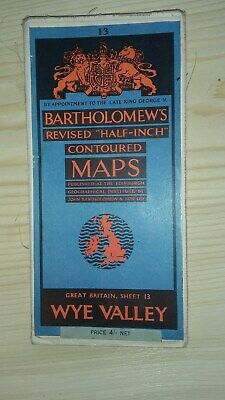 Vintage  Bartholomews Half Inch Contour map Wye Valley Sheet 13(on cloth)