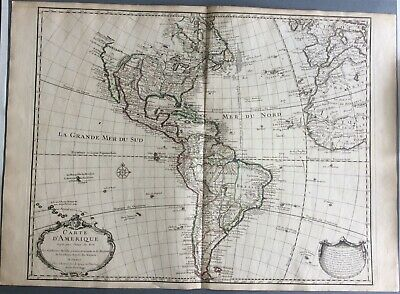 Original 1722 Map of North & South America by Guillaume Delisle