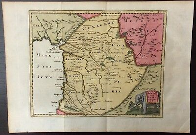 Rare antique map of Syria by Phillip Cluver published in 1697