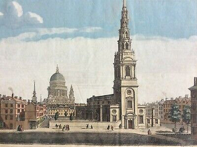 1753 view of St Bride's Church in the City of London, England.