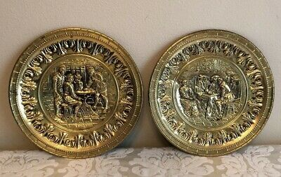 "Vintage Embossed Brass Metal Design 12"" Wall Plates Plaques Hangings Set Pair"