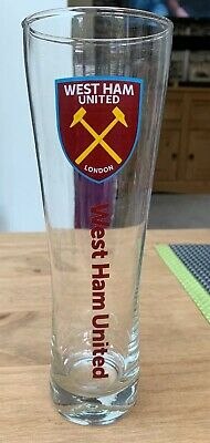 Official WEST HAM UNITED FC WORDMARK Slim Tall  Pint Glass Beer Glass Ideal Gift