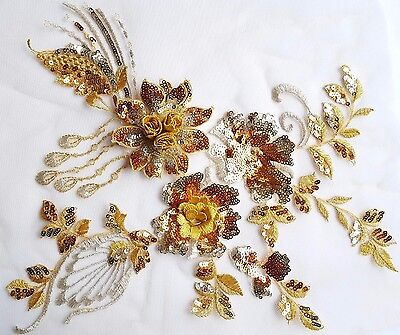 3D Gold Silver Sequined Floral Embroidery Applique Motif Lace Sewing Trim-EB0288