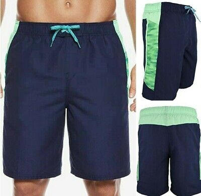 "b7968413b6 NWT NIKE Flux Splice Men's 9"" Volley Swim Shorts Trunks Navy/Green SELECT  SIZE"
