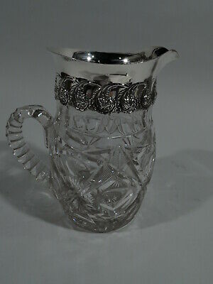 Adelphi Water Pitcher - Antique Edwardian - American Sterling Silver & Cut Glass