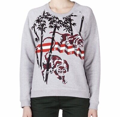 2afc513c0 Kenzo Paris Womens XS Sweatshirt Tiger Bamboo Embroidered Gray Red Black