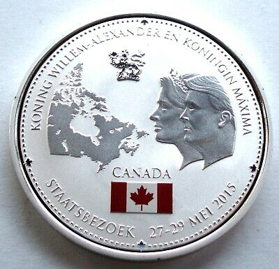 NETHERLANDS, ROYAL STATE VISIT TO CANADA 2015 BU Proof Colored Medal 40mm 26g B8