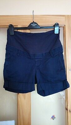 H&M Navy Chino Over Bump Maternity Shorts Size 8