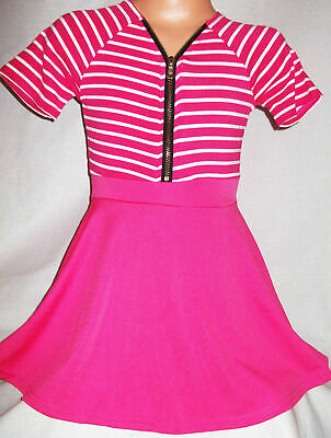 GIRLS PINK & WHITE STRIPE ZIP FRONT SHORT LENGTH SPORTY CASUAL DRESS age 13-14